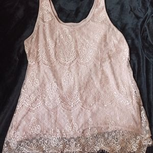 Maurices Nude/Blush Lace Tank